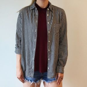 Uniqlo Black and White Gingham Flannel